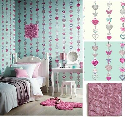 Tiffany Stripe Girls Bedroom Butterfly Heart Wallpaper & Matching Accessories