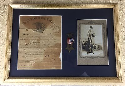 Civil War discharge paper for George E. Heartter PA Infantry GAR medal and Photo