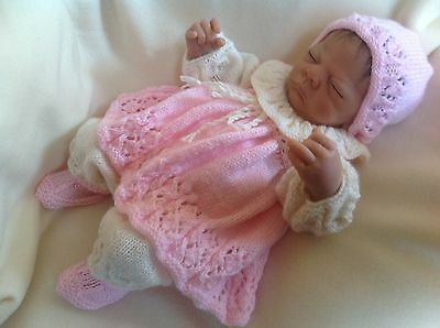 HAND KNITTED DRESS SET 4 PIECE OUTFIT FOR NEWBORN 0-3 Mths Baby OR REBORN DOLL