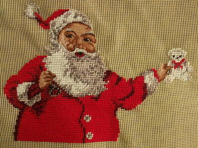 Vintage Preworked Wool Needlepoint Tapestry Canvas Father Christmas Santa