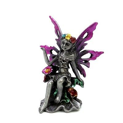 "Miniature Pewter Fairy With Purple Wingtips Holding Flowers 2.5"" Tall New"
