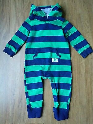 Carter's Baby Boys French Terry Knit Hooded Jumpsuit - Striped 18M