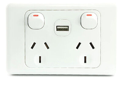White Australian Dual Power Point GPO Wall Plate with 2A USB Socket