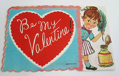 Used Vtg Valentine Card Cute Pixie Girl w Quill Pen & Ink