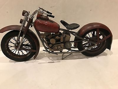 """RARE vintage harley or indian motorcycle model large 19"""" w moving chain & parts"""