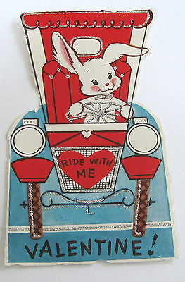 Used Vtg Valentine Card Glittery Old Car w Bunny Driving Ride with Me Valentine