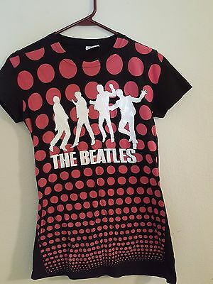 Classic Beatles Silhouettes - Pink Polka Dots T- Blouse/Shirt Size S