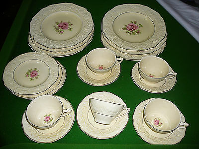 19 piece crown ducal florentine dinner set cups plates saucers roses stunning
