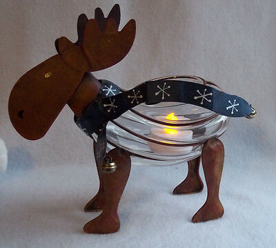 Unique Rustic Metal & Glass Moose Candy Dish / Tea Light Holder
