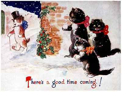 Postcard: Vintage Repro - Cats Throw Snowballs at Well Dressed Dog, Christmas