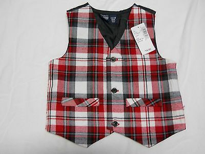 Childrens Place Baby Boy 12-18 Month Vest Red Black White  Plaid NEW with Tags