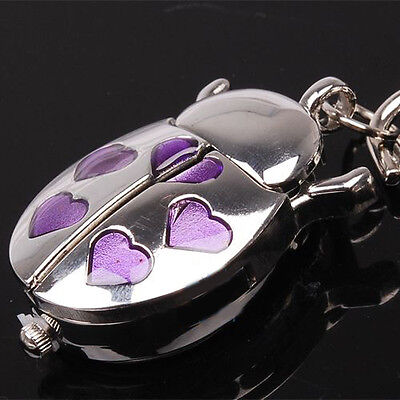 DBS Beetle Purple Heart Key Ring Mens Womens Pocket Watch Quartz Montres Reloj