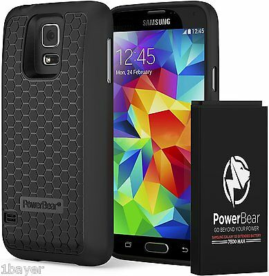PowerBear Samsung Galaxy S5 Extended Power Battery Skin Protector Case Cover
