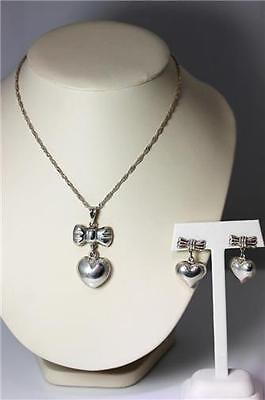 Mexico Sterling Silver Heart & Bow Necklace & Earring Set Taxco CG-05 – 8196