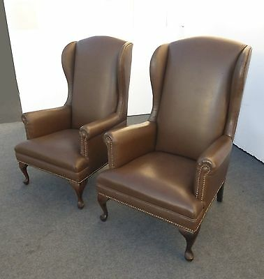 Vintage Pair Mid Century WING BACK Brown Vinyl ARM CHAIRS w Decorative Nails