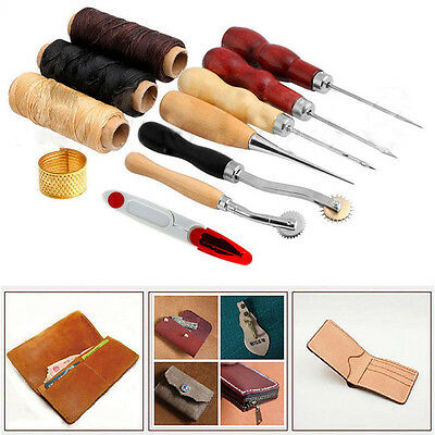 13/Set Hand Stitching Sewing Needles Thread Awl Waxed Thimble Leather Craft Kit