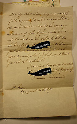 1871 NEWFOUNDLAND HBR GRACE LETTER MARRIAGE REQUEST TO FATHER FOR DAUGHTER ob10