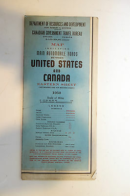 Vintage 1950 Main automible roads between US and Canada Map