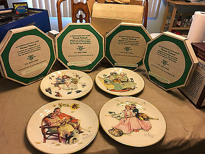 SET OF 4 NORMAN ROCKWELL 1973 FOUR SEASONS Ltd Ed Plates w/ Orig Boxes Gorham