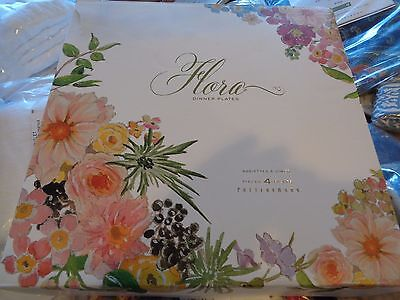 8 Pottery Barn flora Easter plates flowers rimmed  New in box