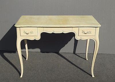 Vintage French Provincial Country Yellow WRITING DESK 3 Drawers Solid Wood
