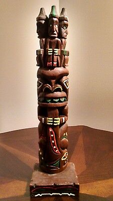 """Creed Totem Pole 13"""" Three Wise Men Made in Anchorage Alaska"""
