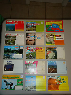 15 Vintage Assorted Postcard Folders Lot #8 New 1960's - 1970's