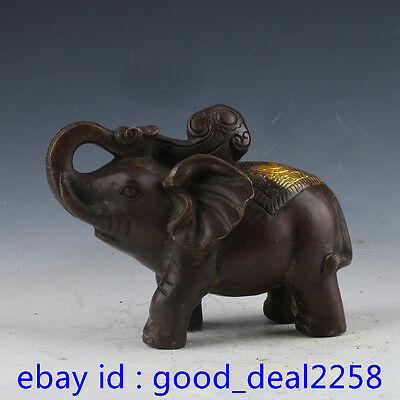 Chinese Red Bronze Gilt Carving Auspicious Animal Of Afrika Elephant Statue
