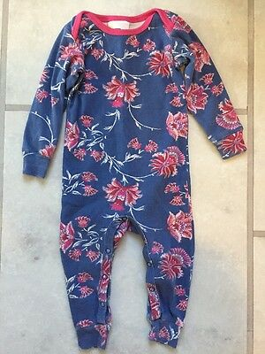 EUC TEA COLLECTION Blue Pink Floral Print One Piece Outfit Romper Sleeper 6 9 12