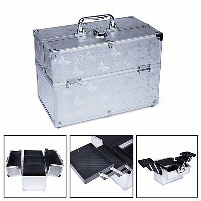 Professional Cosmetic Box Beauty Makeup Case Toiletry Travel Organiser Silver