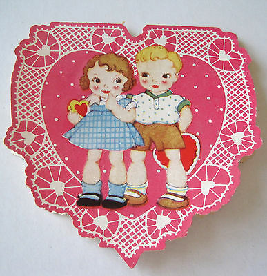 Used Vtg Valentine Cute Kids on Pink Heart My Valentine is YOU