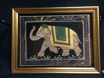 FRAMED Hand-Painted Elephant on Rice Paper in Gold Wood Frame Art Work