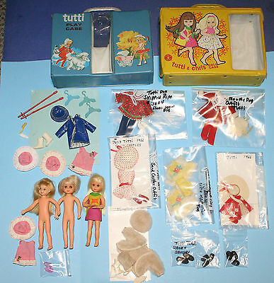 Vintage Barbie 1 Tutti, 2 Chris Dolls, Clothing & Cases AS IS LOT!