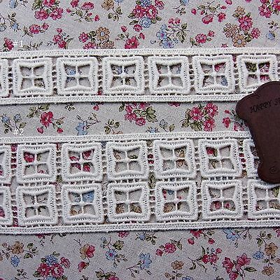 Cotton Lace Trim Double Edge Embroidered Crochet Ivory DIY Sewing Craft 1yard