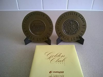 1998 Commonwealth Games /Malaysia Airlines Golden Club/Solid Brass Coasters