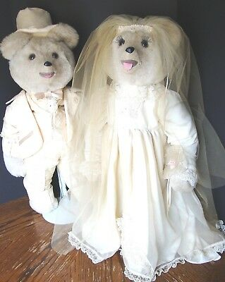 "Collectible Vintage Formal Wedding Teddy Bears Bride Groom 32"" Stands"