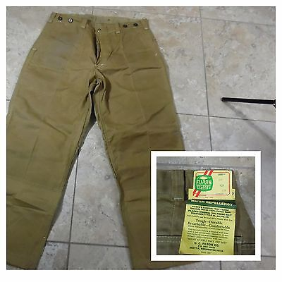 VTG CC Filson Oil Finish Wax Tin Cloth Jeans Mens Waterproof Tan Sz 36 NWT