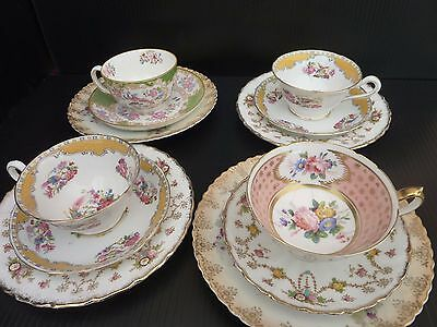 Vintage China Tea Set Mismatched Yellow Green Peach Shabby Chic
