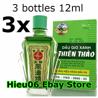 3 bottles 12ml Thien Thao Medicated Oil - Dau Gio Xanh - Cold Flu Cough Headache