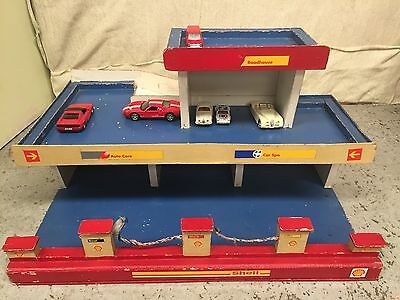 Vintage Handmade 3 Level Shell Garage Roadhouse Toy Service Station Matchbox Car