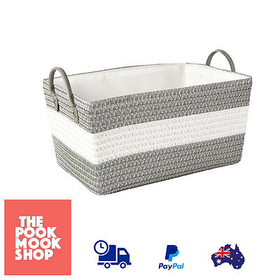 Woven Rectangle Basket Storage Home Container Organizer Bin Laundry, Office