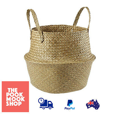 Foldable Seagrass Woven Basket Household Storage Home Organizer Kitchen Laundry