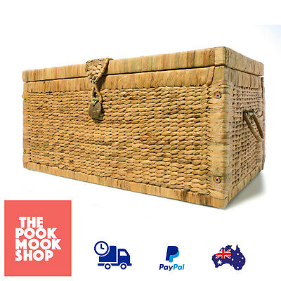 Basketware Trunk Rustic Basket Vintage Storage, Wicker Chest Picnic Box, Laundry