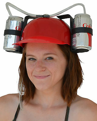 Beer & Soda Guzzler Helmet & Drinking Hat, Red - Party Hat - Novelty Gift NEW!