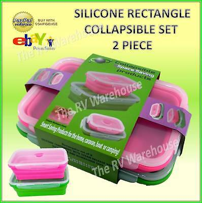 Set of 2 Storage Collapsible Silicone Lunchbox Containers Food Rectangle Caravan