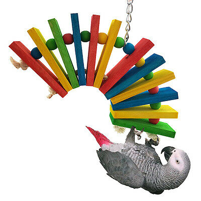 Colorful Swing Bird Parrot Rope Hanging Toys Parakeet Cockatiel Climb Tool