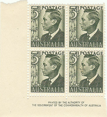 Australia George 6Th 3 Penny Block Stamps