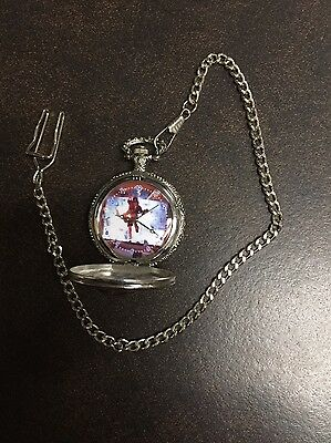 AC/DC ACDC POCKET WATCH ANGUS YOUNG hells bell GUITAR SILVER photo Rock NEW