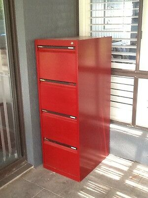 Filing cabinet 4 drawer Metal Red