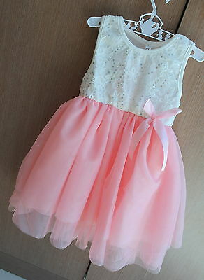 BABY GIRL TODDLER DRESS TULLE TUTU PEACH CREAM IVORY PARTY DRESS OUTFIT 00-2yr